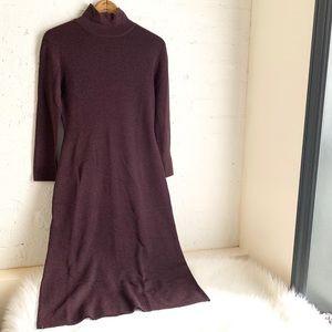 Brooks Brothers eggplant merino wool sweater dress